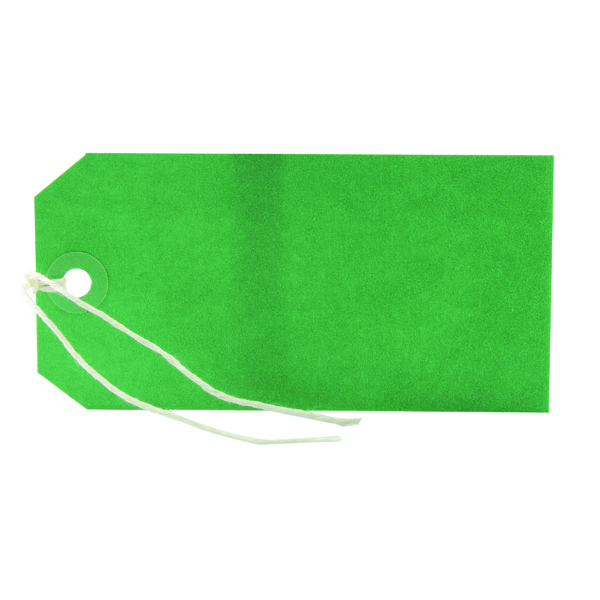 Strung Tag 120x60mm Green (1000 Pack) KF01624