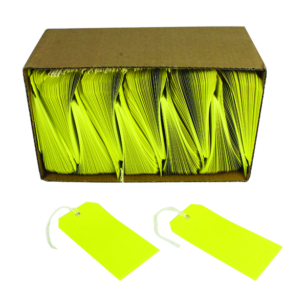 Tags Strung Tags 120x60mm Yellow (1000 Pack) KF01626