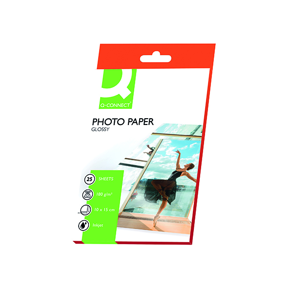 Photo Size Q-Connect 10x15cm Gloss Photo Paper 180gsm (25 Pack) KF01905