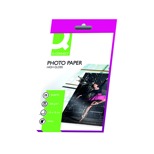 Photo Size Q-Connect White 10x15cm Glossy Photo Paper 260gsm (25 Pack) KF01906