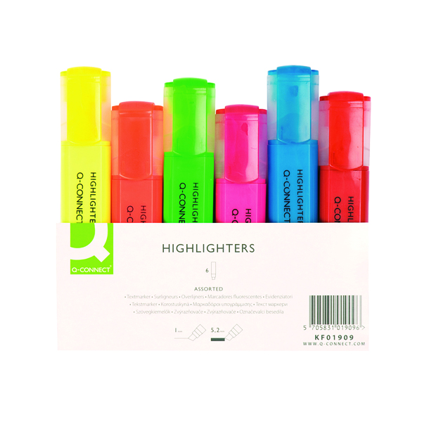 Assorted Q-Connect Assorted Highlighter Pens (6 Pack) KF01909