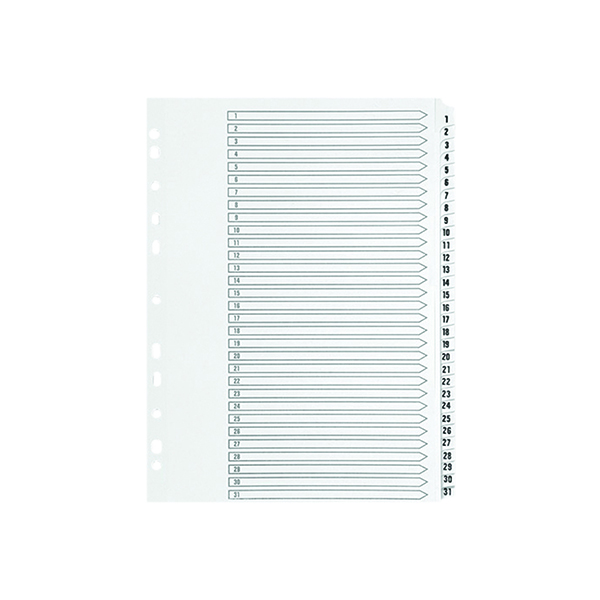 Q-Connect 1-31 Index Multi-Punched Reinforced Board Clear Tab A4 White KF01936