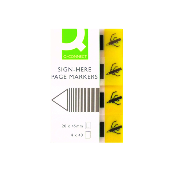 Q-Connect Quick Signature Markers 20 x 45mm Yellow (160 Pack) KF01979