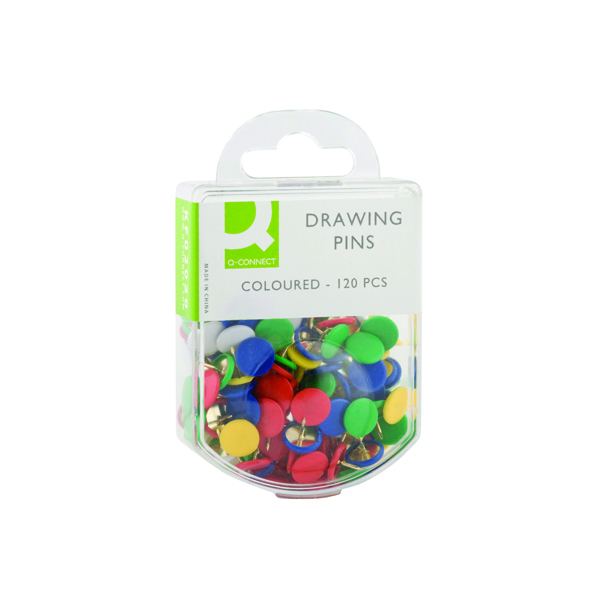Pins Q-Connect Drawing Pins Coloured (1200 Pack) KF02020Q