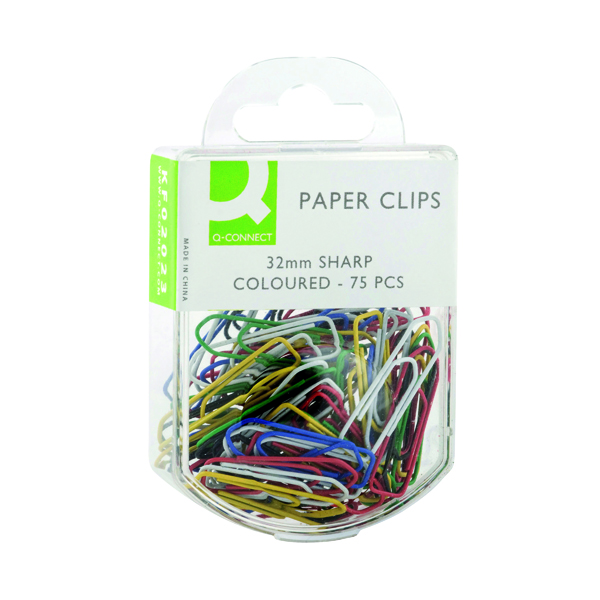 Q-Connect Paperclips Coloured 32mm (750 Pack) KF02023Q