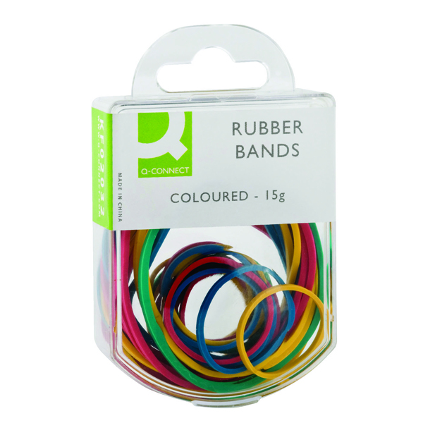 Rubber Bands Q-Connect Rubber Bands Assorted Sizes Coloured 15g (10 Pack) KF02032Q