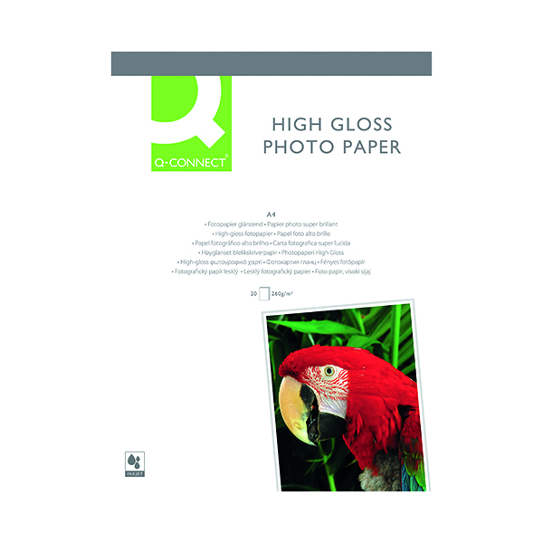 A4 Q-Connect White A4 High Gloss Photo Paper 260gsm (20 Pack) KF02163