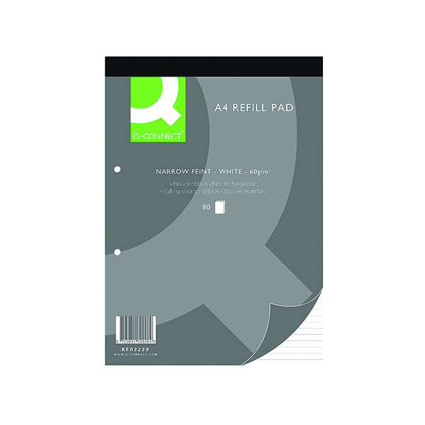 Ruled Q-Connect Narrow Feint Ruled Headbound Refill Pad 160 Pages A4 (10 Pack) KF02229