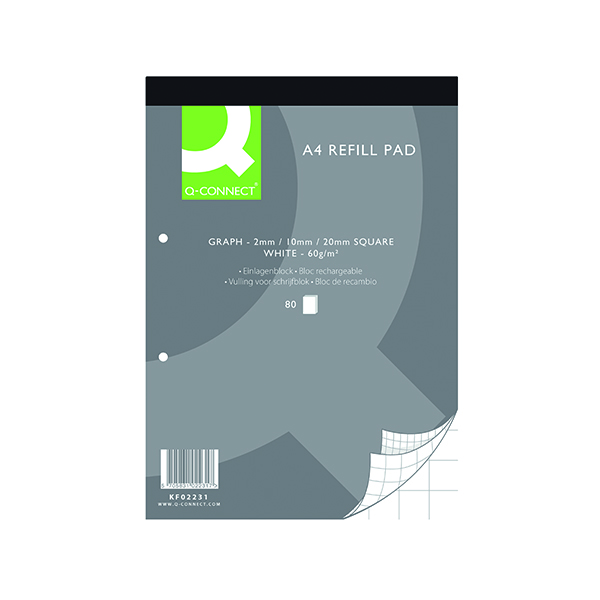 Q-Connect A4 Graph Refill Pad 80 Sheet (10 Pack) KF02231