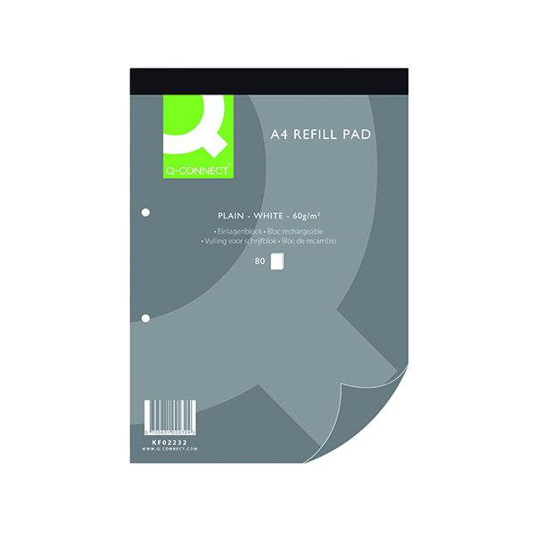 Q-Connect Plain Headbound Refill Pad 160 Pages A4 (10 Pack) KF02232