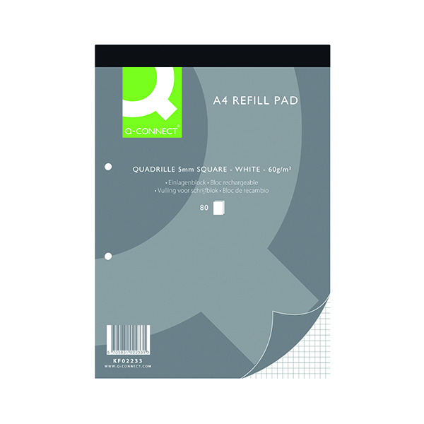 Q-Connect Quadrille Ruled Headbound Refill Pad 160 Pages A4 (10 Pack) KF02233