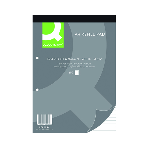 Ruled Q-Connect Feint Ruled Margin Headbound Refill Pad 200 Pages A4 (5 Pack) KF02234