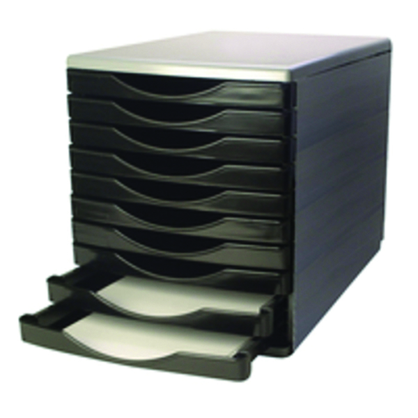 10 Drawer Q-Connect Black and Grey 10 Drawer Tower KF02254