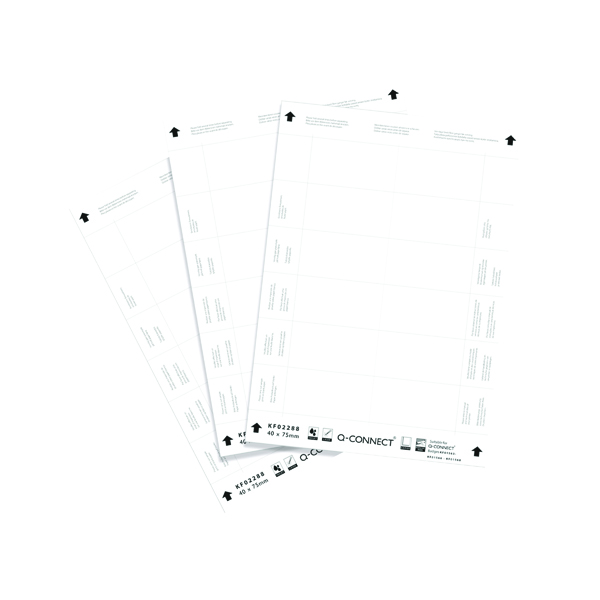 Inserts Q-Connect Name Badge Inserts 40x75mm 12 Per Sheet (25 Pack) KF02288