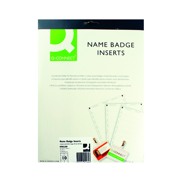 Inserts Q-Connect Name Badge Inserts 54x90mm 10 Per Sheet (25 Pack) KF02289