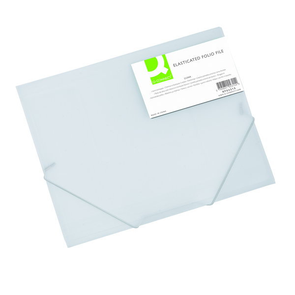 Q-Connect Elasticated Folder 3 Flap A4 Clear KF02315