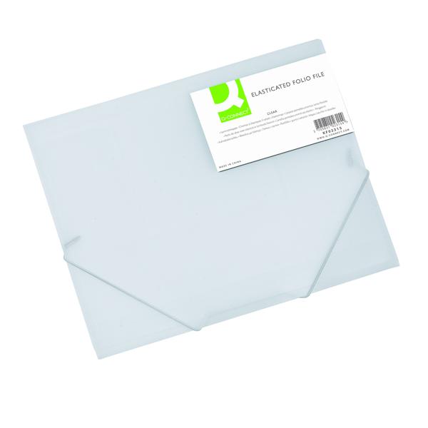 Q-Connect Elasticated Folder 3 Flap A4 Clear KF02315