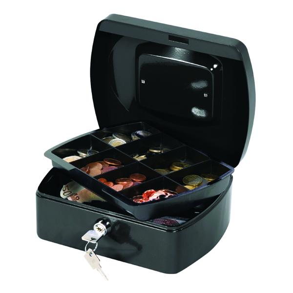 Cash Q-Connect Cash Box 8 Inch Black KF02602