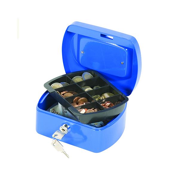 Cash Q-Connect Cash Box 6 Inch Blue KF02608