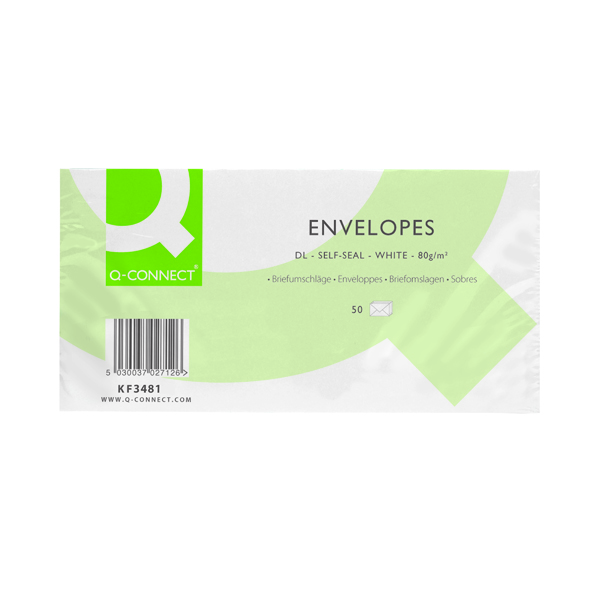 White Plain Q-Connect DL Envelopes Plain Wallet Self Seal 80gsm White (20 x 50 Pack) KF02712
