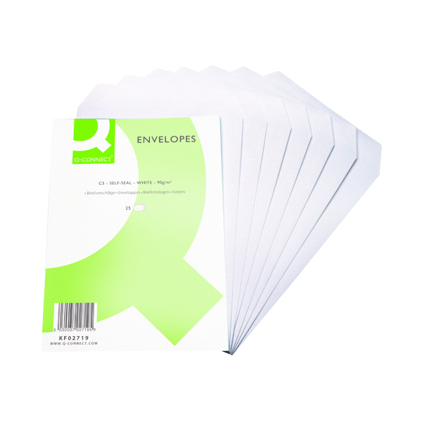 White Plain Q-Connect C5 Envelopes Pocket Self Seal 90gsm White (500 Pack) KF02719
