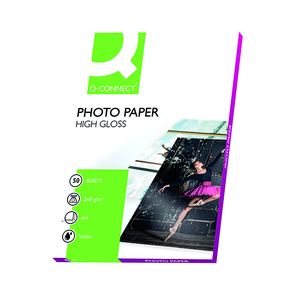 A4 Q-Connect White A4 High Gloss Photo Paper 260gsm (50 Pack) KF02772