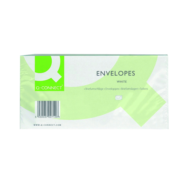 White Window Q-Connect DL Envelopes Window Peel and Seal 100gsm White (500 Pack) KF03000
