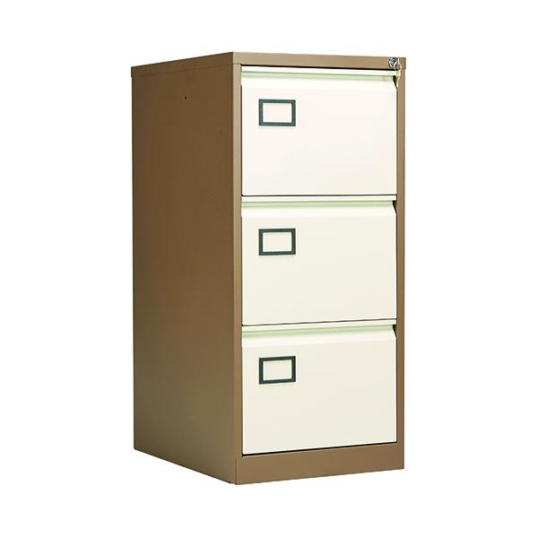 Wood Jemini 3 Drawer Filing Cabinet Coffee/Cream KF03004