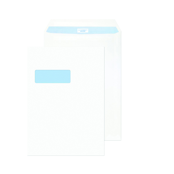 White Window Q-Connect C4 Envelopes Window Peel and Seal 100gsm White (250 Pack) KF03292