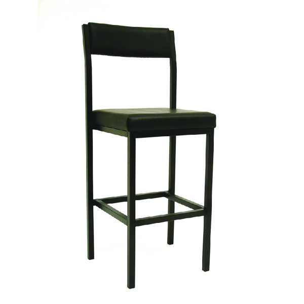 Unspecified Jemini High Stool with Back Rest Black Vinyl KF03312