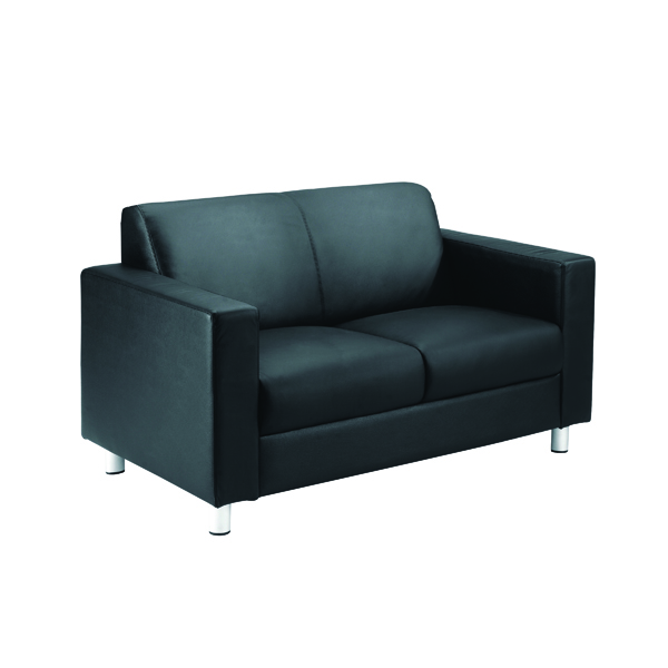 Reception Chairs Avior Black Leather Faced Executive Reception Sofa KF03530