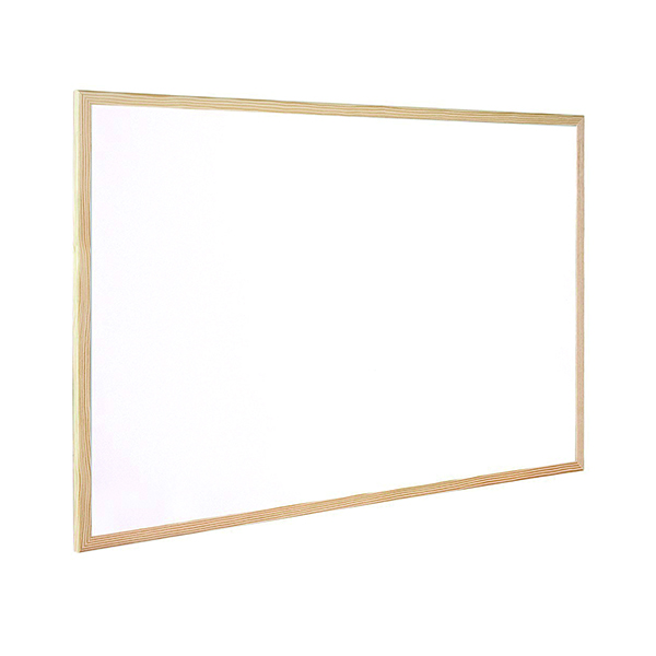 Non-Magnetic Q-Connect Wooden Frame Whiteboard 600x900mm KF03571