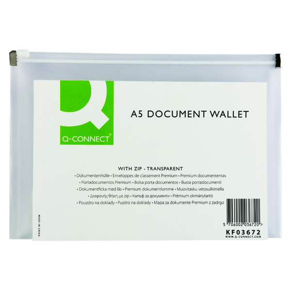 A5 Q-Connect Document Zip Wallet A5 Transparent (10 Pack) KF03672
