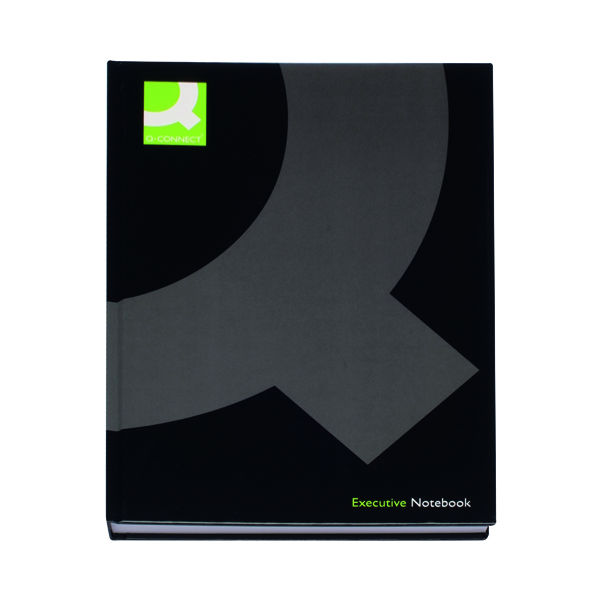Ruled Q-Connect Hardback Casebound Notebook A4 Black (3 Pack) KF03725