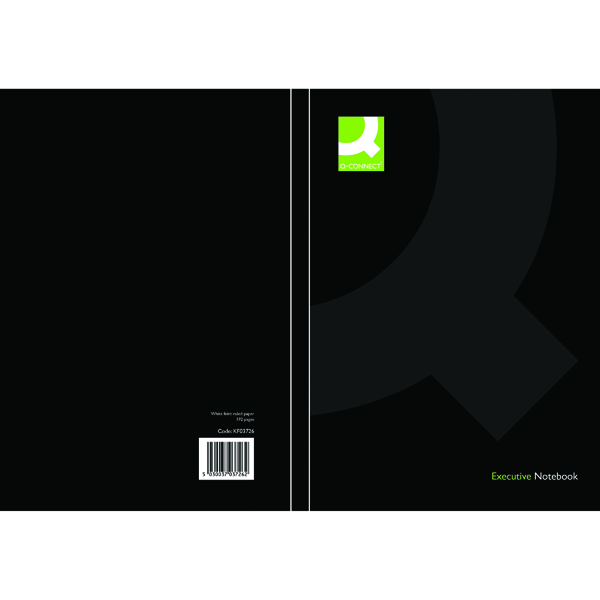 Ruled Q-Connect Hardback Casebound Notebook A5 Black (3 Pack) KF03726