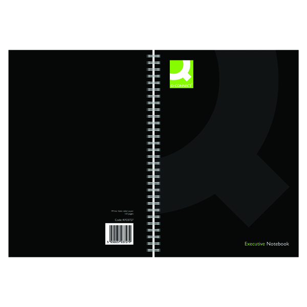 Q-Connect Hardback Wirebound Book A4 Black (3 Pack) KF03727