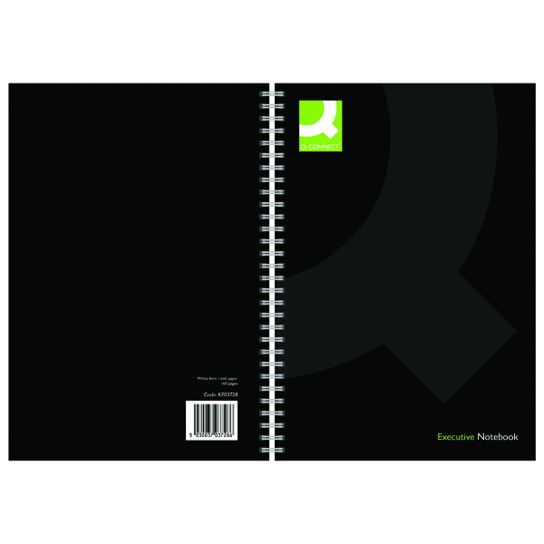 Q-Connect Hardback Wirebound Book A5 Black (3 Pack) KF03728