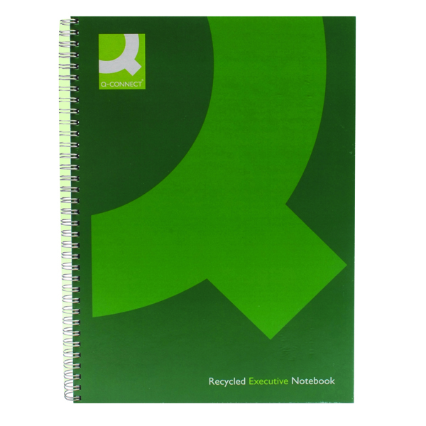 Q-Connect Recycled Wirebound Notebook A4 Green (3 Pack) KF03731