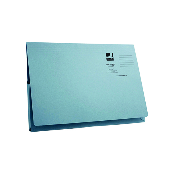 Q-Connect Long Flap Document Wallet Foolscap Blue (50 Pack) KF03929