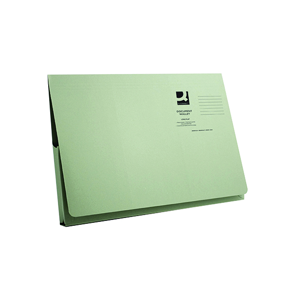 Q-Connect Long Flap Document Wallet Foolscap Green (50 Pack) KF03931