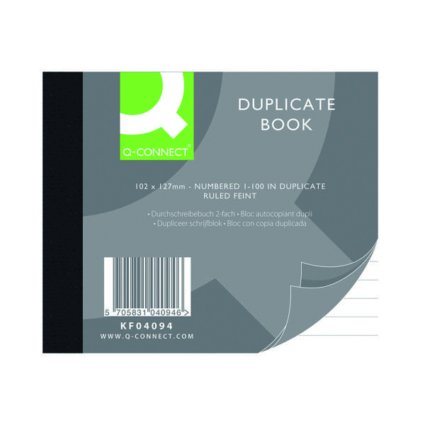 Duplicate Q-Connect Feint Ruled Duplicate Book 102x127mm KF04094