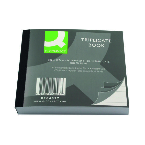 Triplicate Q-Connect Feint Ruled Triplicate Book 102x127mm  KF04097