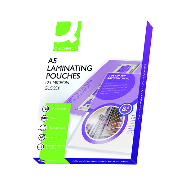 Laminating Film & Pockets Q-Connect A5 Laminating Pouch 250 Micron (100 Pack) KF04108
