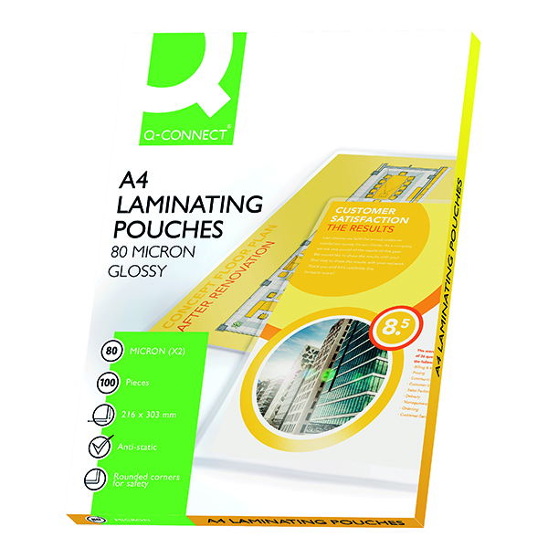 Laminating Film & Pockets Q-Connect A4 Laminating Pouch 160 Micron (100 Pack) KF04114