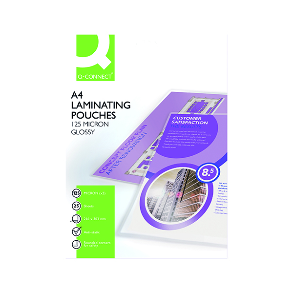 Laminating Film & Pockets Q-Connect A4 Laminating Pouch 250 Micron (25 Pack) KF04120