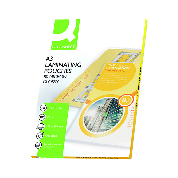 A3 Q-Connect A3 Laminating Pouch 160 Micron (100 Pack) KF04122