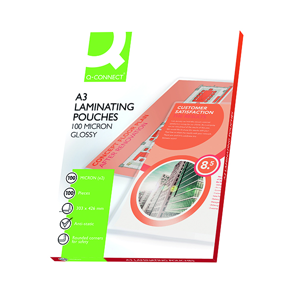 A3 Q-Connect A3 Laminating Pouch 200 Micron (100 Pack) KF04123