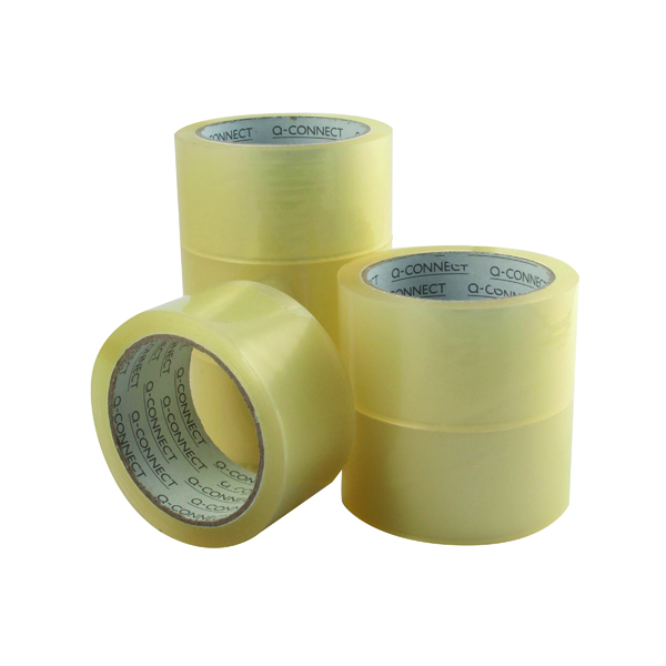 36/50mm Q-Connect Low Noise Polypropylene Packaging Tape 50mmx66m Clear (6 Pack) KF04382