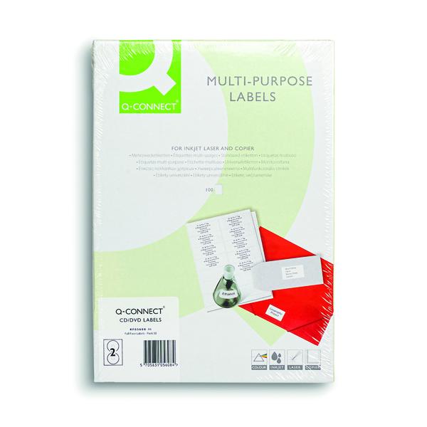Media Q-Connect Full Face CD DVD Label 117 dia 2 Per Sheet White (100 Pack) KF05608