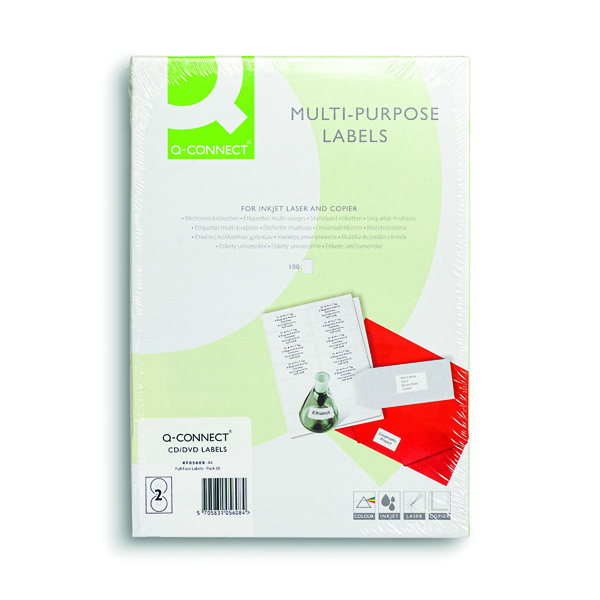 Q-Connect Full Face CD DVD Label 117 dia 2 Per Sheet White (100 Pack) KF05608
